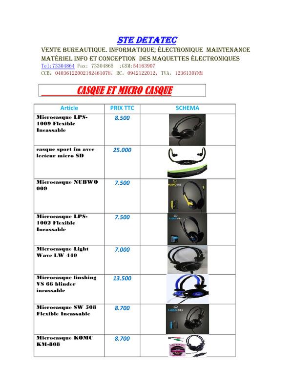 liste et prix des accessoires